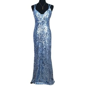 NWT Morgan & Co. Evening Maxi Gown Blue Sequin 5